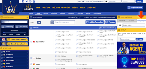 how to check coupon on betking