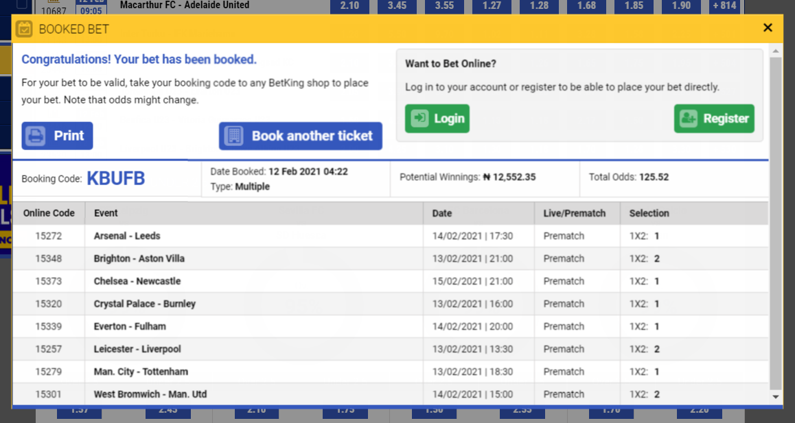 Betking booking codes
